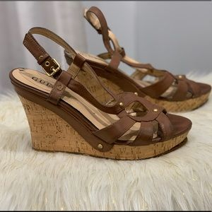 Guess brown strappy wedge size 6.5
